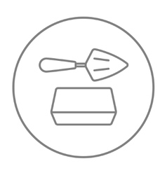 Spatula with brick line icon vector
