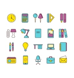 Icons set of stationery vector
