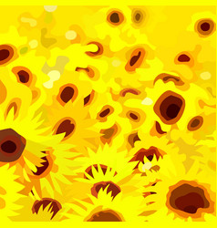 Abstract painted a field of yellow flowers vector