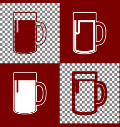 Beer glass sign bordo and white icons and vector
