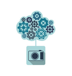 Blue camara with cloud of gears icon vector