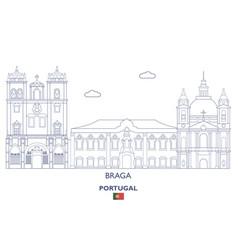 Braga linear city skyline vector