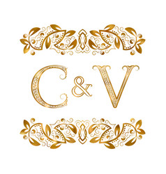 C and v vintage initials logo symbol the letters vector