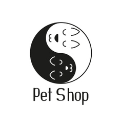 Cat and dog like Yin Yang sign for pet shop vector image vector image