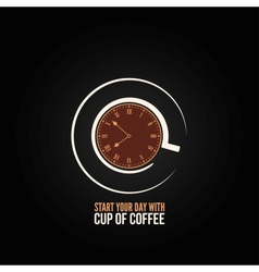 coffee cup time clock concept design background vector image vector image