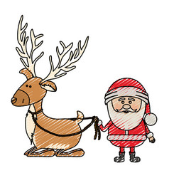 Color crayon stripe cartoon of reindeer holding by vector