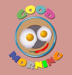 Comic scrambled eggs good morning vector