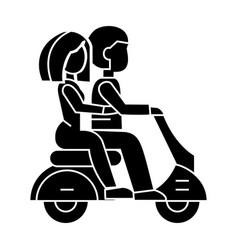 Couple in love riding a scooter icon vector