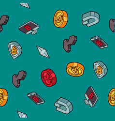 cryptocurrency flat outline isometric pattern vector image vector image