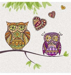 Decorative owl Couple and love vector image