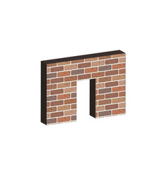 door in brick wall in 3d vector image