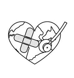 Figure earth planet heart with stethoscope and vector