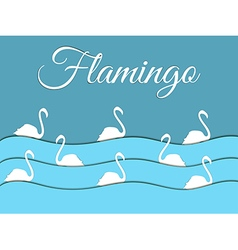 Flamingo float on the waves of paper vector