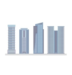 Flat city skyscraper business buildings vector