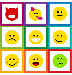 Flat icon gesture set of pouting party time vector