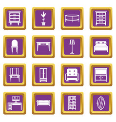 furniture icons set purple vector image vector image