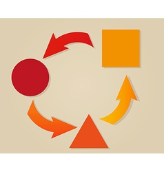 Gradient circle arrows and different objects vector
