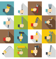 Hand tool icons set building flat style vector
