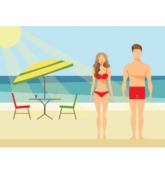 Happy family on the beach man and woman swimwear vector