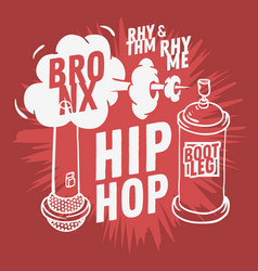 hip hop design with a microphone and graffiti vector image vector image