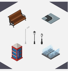 Isometric city set of fountain sitting street vector