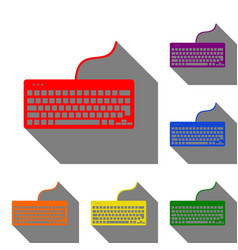 Keyboard simple sign set of red orange yellow vector