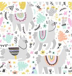 lama seamless pattern vector image