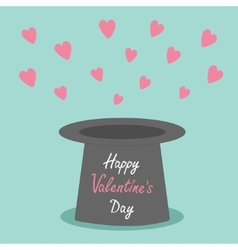 Magic black hat with flying pink hearts on blue vector image vector image