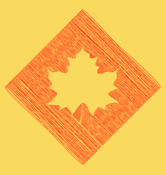 Maple leaf sign red scribble icon vector