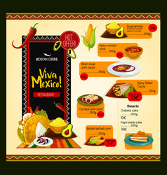 Mexican menu template for restaurant vector