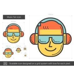 Music fan line icon vector image vector image
