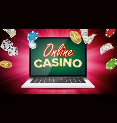 Online casino banner with laptop poker vector