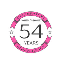 Realistic fifty four years anniversary celebration vector