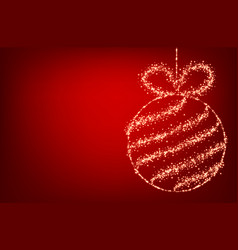 Red background with christmas ball vector