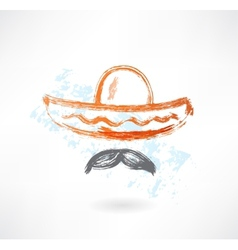 Sombrero grunge icon vector