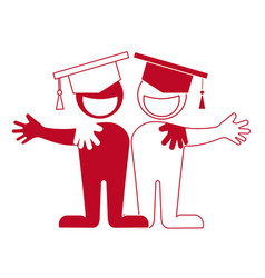 Student icon friendship hug each other vector