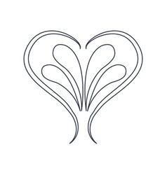 Swirl heart vintage baroque ornament style line vector