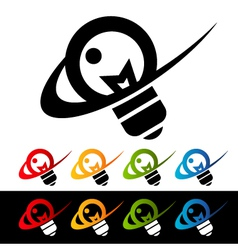 Swoosh light bulb logo icons vector