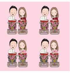 Thai wedding cartoon in blessed water traditional vector