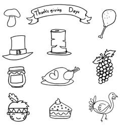 Thanksgiving set element on doodles vector