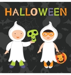 Trick or treat kids boy and girl in vector