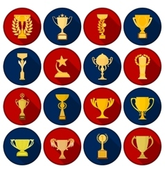 Winner cup set icons in flat style big collection vector