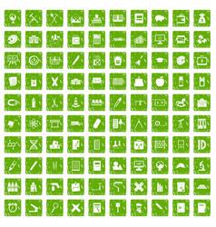 100 pensil icons set grunge green vector