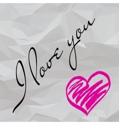 Crumpled paper love note vector