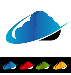 Swoosh Cloud Computing Logo Icons vector image