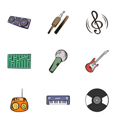Music icons set cartoon style vector