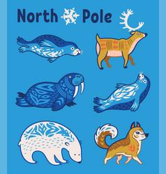 Arctic animals set in cartoon style vector