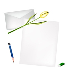 Yellow tulip on blank page and envelope vector