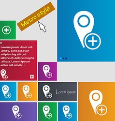 Map pointer icon sign metro style buttons modern vector