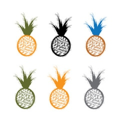 Set of grunge pineapples vector